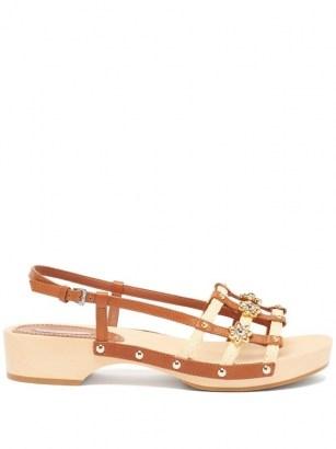 FABRIZIO VITI Sofia leather and raffia sandals / floral tan slingback sandal - flipped