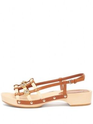 FABRIZIO VITI Sofia leather and raffia sandals / floral tan slingback sandal
