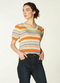 L.K.BENNETT SONYA MULTI COTTON KNIT KNITTED TOP / striped multicolour knits