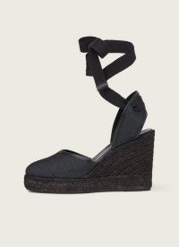 L.K. Bennett SOPHIE BLACK DENIM ESPADRILLES | ankle tie wedges