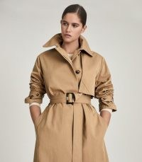 REISS SOPHIE COTTON BLEND LONGLINE TRENCH COAT CAMELSOPHIE ~ light brown modern classic coats