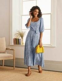 BODEN Sophie Jersey Midi Dress Surf, Cherry Blossom / floral tie waist summer dresses