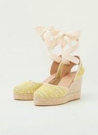 L.K. BENNETT SOPHIE YELLOW TWEED ESPADRILLES / summer ankle wrap wedges