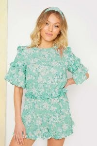 STACEY SOLOMON SAGE DITSY FLORAL RUFFLE PLAYSUIT ~ ruffled green playsuits