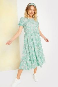 STACEY SOLOMON SAGE DITSY FLORAL SMOCK TIERED MIDI DRESS ~ celebrity inspired fashion