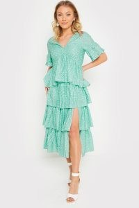 STACEY SOLOMON SAGE GREEN FLORAL SPLIT FRILL MIDI DRESS ~ celebrity inspired tiered dresses