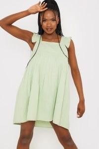 STACEY SOLOMON SAGE LINEN FRILL SHOULDER SMOCK DRESS ~ green smocked dresses