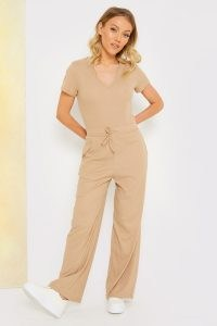 STACEY SOLOMON TAN V NECK RIBBED JUMPSUIT ~ casual light brown celebrity inspired jumpsuits