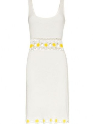 STAUD floral crochet mini dress / white retro dresses / summer knitwear - flipped