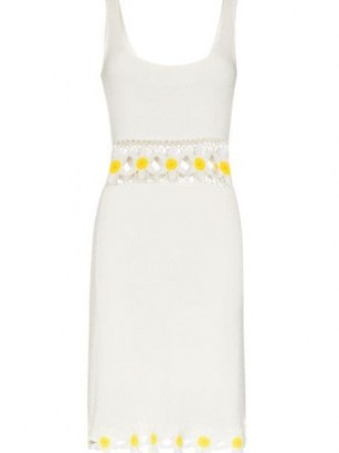 STAUD floral crochet mini dress / white retro dresses / summer knitwear