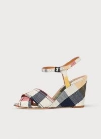 L.K. Bennett STELLA CHECKED LINEN WEDGES | check print fabric sandals