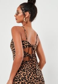 MISSGUIDED stone leopard print cami tie back midi dress
