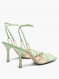 BOTTEGA VENETA Stretch chain-strap green leather sandals ~ luxe strappy square toe heels