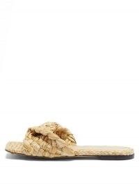 BOTTEGA VENETA Stretch Intrecciato raffia slides | beige square toe sliders | flat woven mules