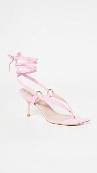 Stuart Weitzman Lalita 75 Sandals in India Pink – wraparound ankle tie sandal