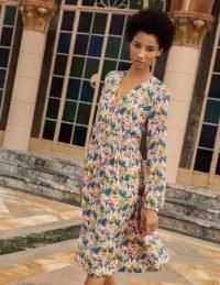 BODEN Susannah Smocked Dress Milkshake, Treetop Toucan / pink bird print summer dresses