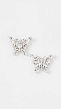 Suzanne Kalan 18k White Gold Fireworks Small Butterfly Stud Earrings – luxe jewellery