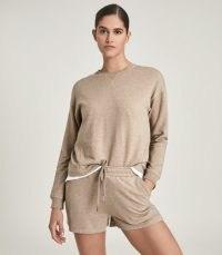 REISS SUZY BRUSHED LOUNGEWEAR SHORTS CAMEL / light brown loungewear