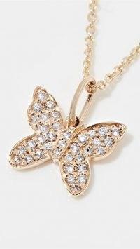 Sydney Evan Mini Pave Butterfly Charm Necklace