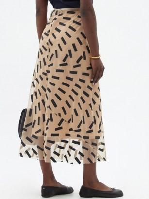 MAISON MARGIELA Tape-print tulle midi skirt / semi sheer beige skirts - flipped