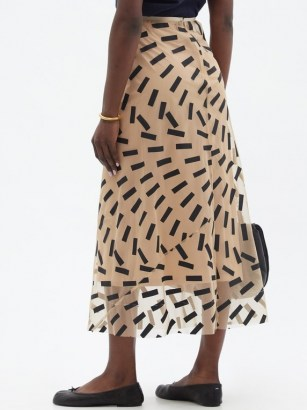MAISON MARGIELA Tape-print tulle midi skirt / semi sheer beige skirts