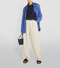 Kendall Jenner neutral wide leg pants, THE ROW Phoebe Trousers in Fog, out in New York, 27 April 2021 | celebrity street style | models off duty fashion