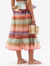 ZIMMERMANN Tiered-hem striped silk-organza midi skirt | feminine ruffle trim summer skirts