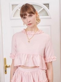 SISTER JANE Simply Ruffled Crop Top Cotton Candy