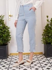 sister jane Postmark Gingham Tailored Trousers / checked cropped hem summer pants
