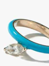 FRY POWERS Unicorn Rainbow topaz, blue enamel & silver ring / brightly coloured jewellery