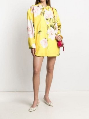 Valentino Yellow floral print shirt mini dress - flipped