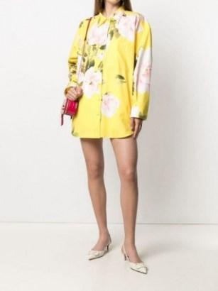 Valentino Yellow floral print shirt mini dress