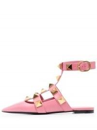 Valentino Garavani Roman Stud ballerina shoes in flamingo pink | studded ankle strap flats