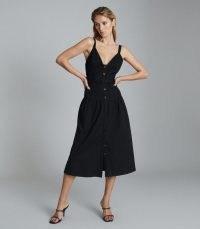 Reiss VITA BUTTON THROUGH MIDI DRESS BLACK | sleeveless plunge front dresses | LBD