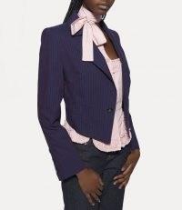 Vivienne Westwood LOU LOU SPENCER JACKET NAVY – women's dark blue slim fit pinstripe jackets