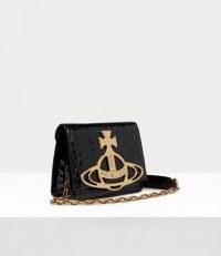 Vivienne Westwood ARCHIVE ORB CROSSBODY BAG BLACK/BRASS | croc effect bags