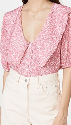 WAYF Amie Button Up Blouse – oversized ruffle collars - flipped
