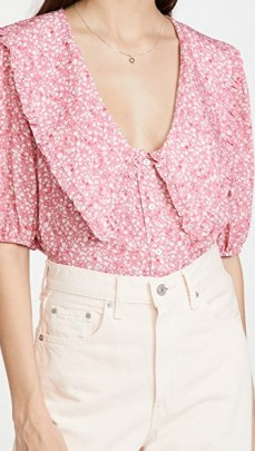 WAYF Amie Button Up Blouse – oversized ruffle collars