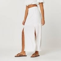 River Island White a line floral maxi skirt | long double slit summer skirts