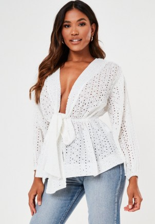MISSGUIDED white broderie plunge flip hem blouse ~ plunging neckline blouses