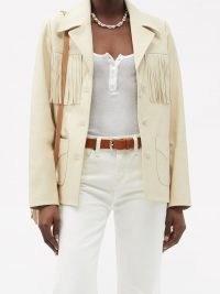 NILI LOTAN Carter cream fringed leather jacket ~ luxe western style jackets