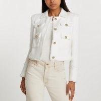 RIVER ISLAND White collared boucle jacket ~ frayed edge tweed style jackets