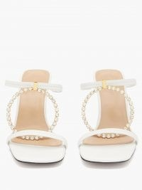 JW ANDERSON Crystal-embellished square-toe white-leather sandals ~ luxe mules