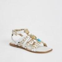 River Island White embellished gladiator sandals | summer gladiators