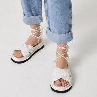 River Island White faux leather weave ankle tie sandals | summer footbed flats