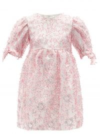 CECILIE BAHNSEN Hadwig sequinned organza mini dress ~ feminine voluminous dresses covered in pink sequins
