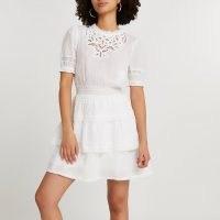 RIVER ISLAND White lace detail dress ~ tiered hem summer dresses