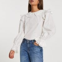 RIVER ISLAND White long puff sleeve collar blouse / romantic floral embroidered blouses / romantic fashion