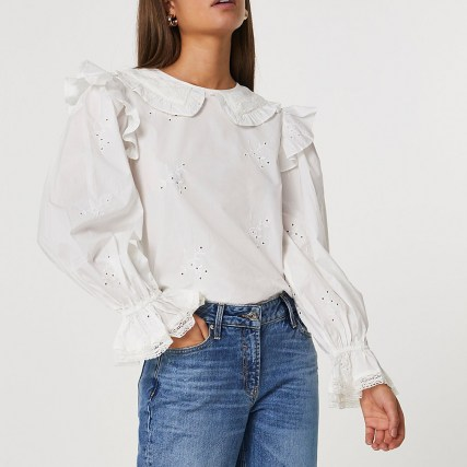 RIVER ISLAND White long puff sleeve collar blouse / romantic floral embroidered blouses / romantic fashion - flipped