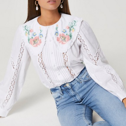 RIVER ISLAND White long sleeve floral embroidered blouse / oversized collar blouses - flipped